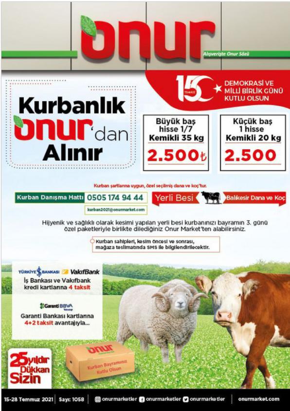 Onur Market İndirim Kataloğu 15-28 Temmuz Bursa Bölge